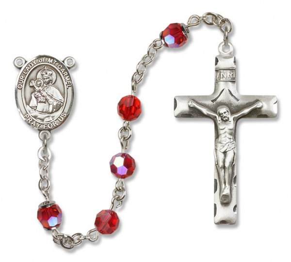 Our Lady of Mount Carmel Rosary Heirloom Squared Crucifix - Ruby Red
