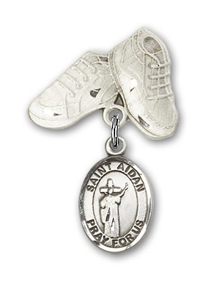 Pin Badge with St. Aidan of Lindesfarne Charm and Baby Boots Pin - Silver tone