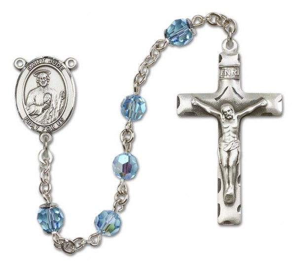 St. Jude Thaddeus Sterling Silver Heirloom Rosary Squared Crucifix - Aqua