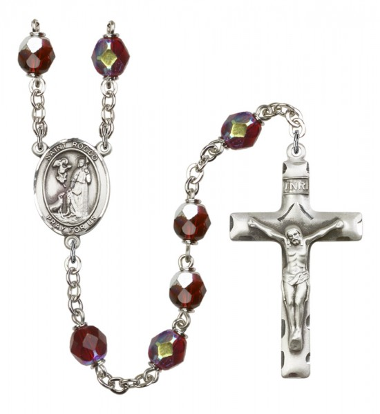 Men's St. Rocco Silver Plated Rosary - Garnet