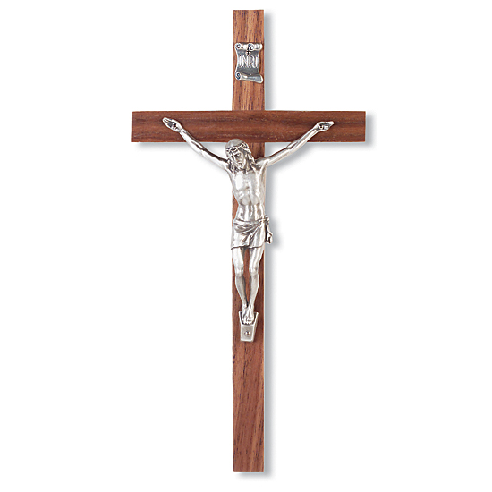 Slimline Silver-tone Corpus Walnut Wall Crucifix - 10 inch - Brown