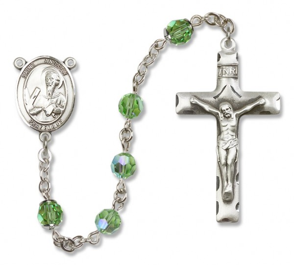 St. Andrew the Apostle Rosary Heirloom Squared Crucifix - Peridot