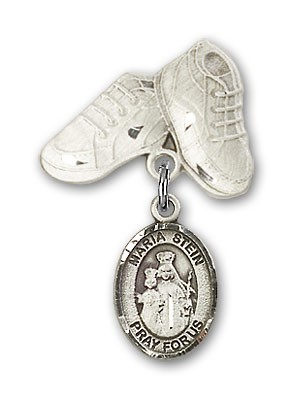 Baby Badge with Maria Stein Charm and Baby Boots Pin - Silver tone