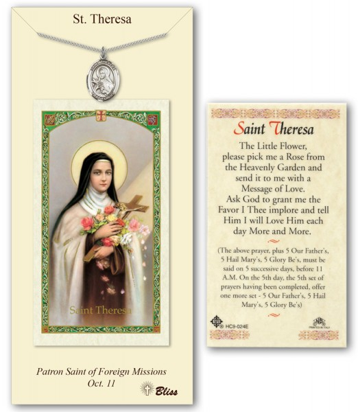 St. Theresa Medal in Pewter with Prayer Card - Silver tone