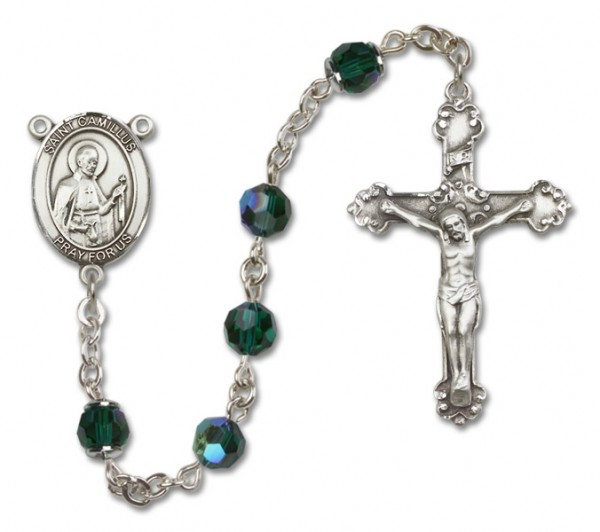 St. Camillus of Lellis Sterling Silver Heirloom Rosary Fancy Crucifix - Emerald Green