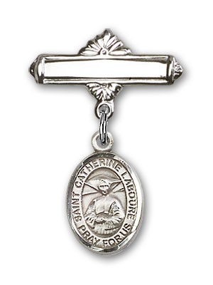 Pin Badge with St. Catherine Laboure Charm and Polished Engravable Badge Pin - Silver tone
