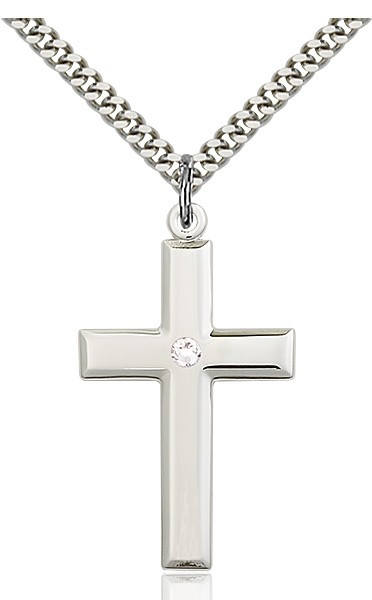 Large Plain Cross Pendant with Birthstone Options - Crystal