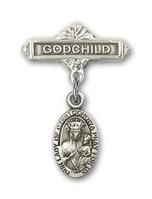 Baby Badge with Our Lady of Czestochowa Charm and Godchild Badge Pin - Silver tone