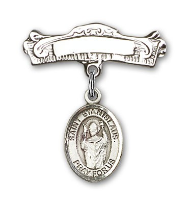 Pin Badge with St. Stanislaus Charm and Arched Polished Engravable Badge Pin - Silver tone