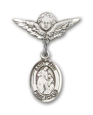 Pin Badge with St. Ann Charm and Angel with Smaller Wings Badge Pin - Silver tone
