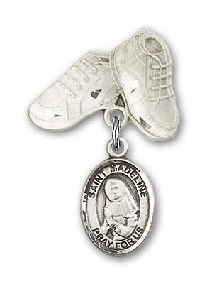 Pin Badge with St. Madeline Sophie Barat Charm and Baby Boots Pin - Silver tone