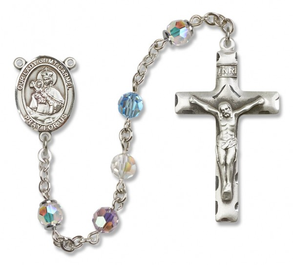 Our Lady of Mount Carmel Rosary Heirloom Squared Crucifix - Multi-Color