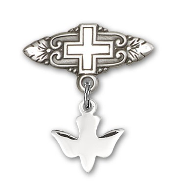 Pin with Holy Spirit Charm and Badge Pin with Cross - Silver tone