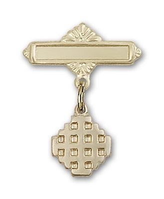 Pin Badge with Jerusalem Cross Charm and Polished Engravable Badge Pin - 14K Solid Gold