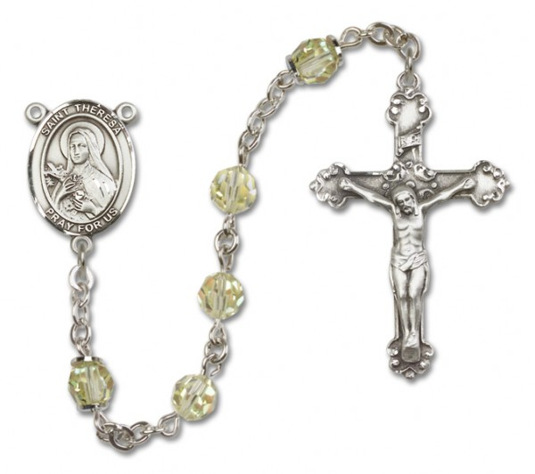 St. Theresa Rosary Heirloom Fancy Crucifix - Jonquil