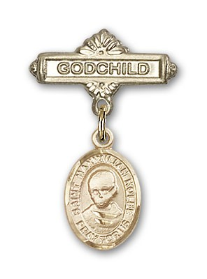Pin Badge with St. Maximilian Kolbe Charm and Godchild Badge Pin - Gold Tone