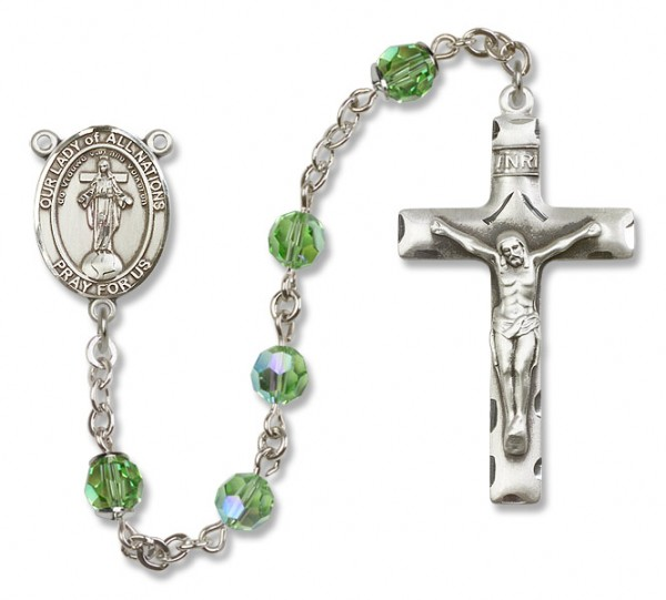Our Lady of Nations Rosary Heirloom Squared Crucifix - Peridot