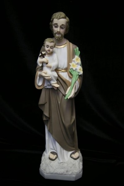 Saint Joseph with Child Statue Hand Painted Marble Composite - 19 inch - Multi-Color