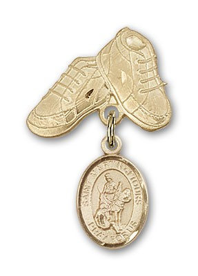 Pin Badge with St. Martin of Tours Charm and Baby Boots Pin - Gold Tone