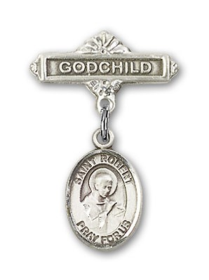 Pin Badge with St. Robert Bellarmine Charm and Godchild Badge Pin - Silver tone