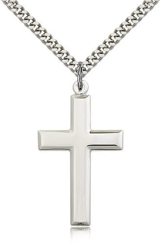 3da9346ba7f Men's High Polish Cross Pendant Beveled Edge - Sterling Silver