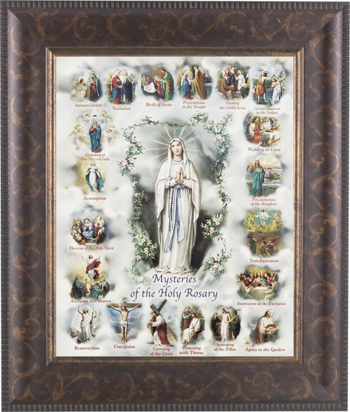 Mysteries of the Holy Rosary Illustrated Framed Print - #124 Frame