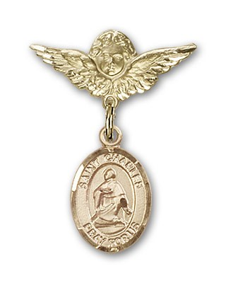 Pin Badge with St. Charles Borromeo Charm and Angel with Smaller Wings Badge Pin - 14K Solid Gold