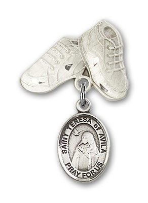 Pin Badge with St. Teresa of Avila Charm and Baby Boots Pin - Silver tone