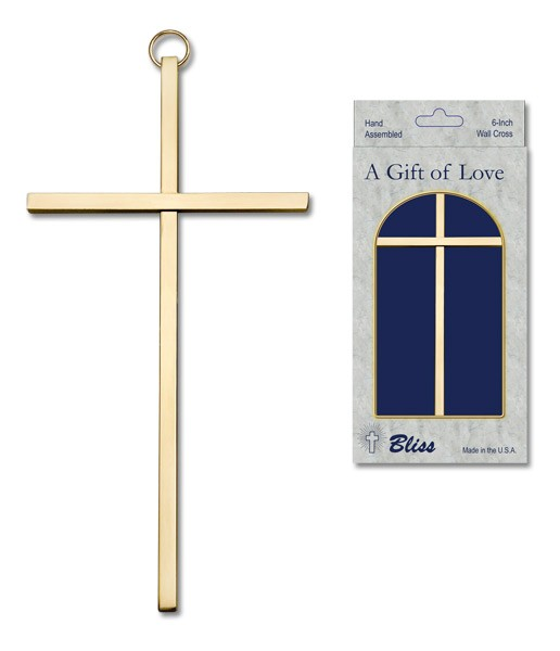 "Plain Wall Cross 6"", two color combinations - Gold Tone"