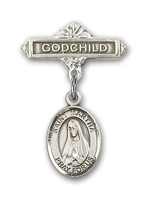 Pin Badge with St. Martha Charm and Godchild Badge Pin - Silver tone