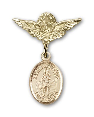 Pin Badge with St. Cornelius Charm and Angel with Smaller Wings Badge Pin - Gold Tone
