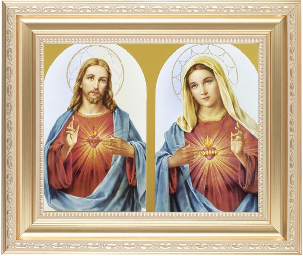 Sacred Heart of Jesus and Immaculate Heart of Mary Framed Print - #138 Frame