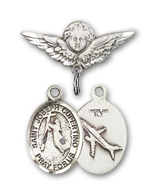 Pin Badge with St. Joseph of Cupertino Charm and Angel with Smaller Wings Badge Pin - Silver tone