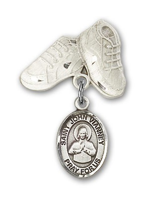 Pin Badge with St. John Vianney Charm and Baby Boots Pin - Silver tone