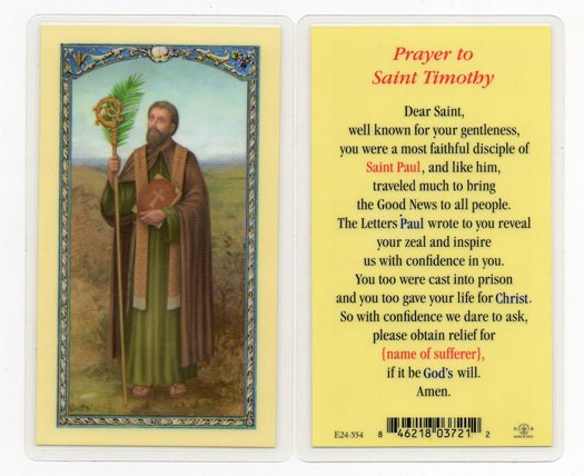 St. Timothy Laminated Prayer Cards 25 Pack - Full Color