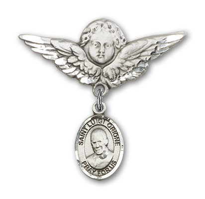 Pin Badge with St. Luigi Orione Charm and Angel with Larger Wings Badge Pin - Silver tone