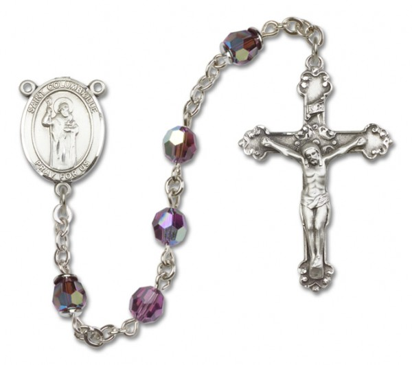 St. Columbkille Sterling Silver Heirloom Rosary Fancy Crucifix - Amethyst