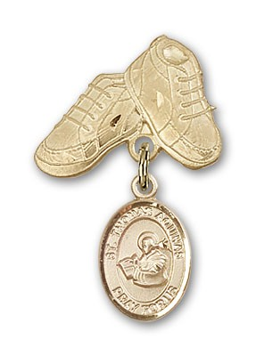 Pin Badge with St. Thomas Aquinas Charm and Baby Boots Pin - Gold Tone