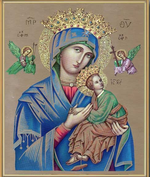 Our Lady of Perpetual Help Gold Framed Print - Full Color