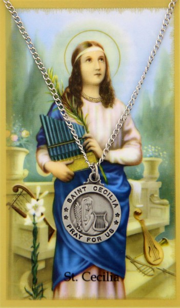 Round St. Cecilia Medal with Prayer Card - Silver tone