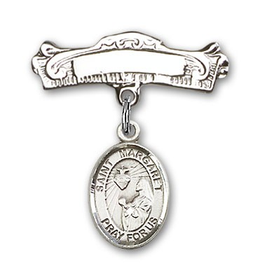 Pin Badge with St. Margaret Mary Alacoque Charm and Arched Polished Engravable Badge Pin - Silver tone