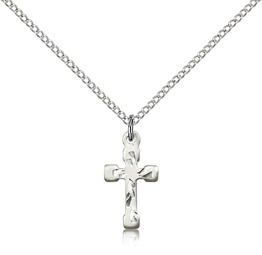 Cross Pendant Dainty Etched - Sterling Silver