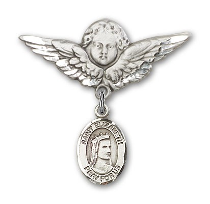 Pin Badge with St. Elizabeth of Hungary Charm and Angel with Larger Wings Badge Pin - Silver tone