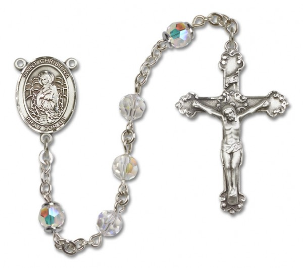 St. Christina the Astonishing Sterling Silver Heirloom Rosary Fancy Crucifix - Crystal