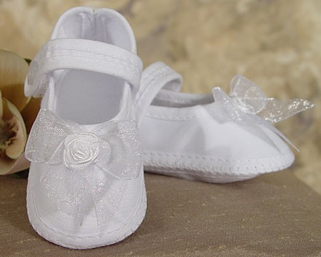 Girls Organza Shoe with Ribbon Rosette - White