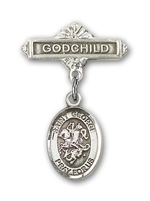 Pin Badge with St. George Charm and Godchild Badge Pin - Silver tone
