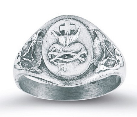 Women's Sacred Heart of Jesus Ring Sterling Silver - Silver