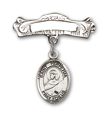 Pin Badge with St. Perpetua Charm and Arched Polished Engravable Badge Pin - Silver tone
