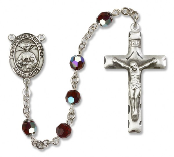 St. Catherine Laboure Sterling Silver Heirloom Rosary Squared Crucifix - Garnet