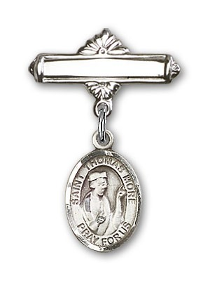 Pin Badge with St. Thomas More Charm and Polished Engravable Badge Pin - Silver tone